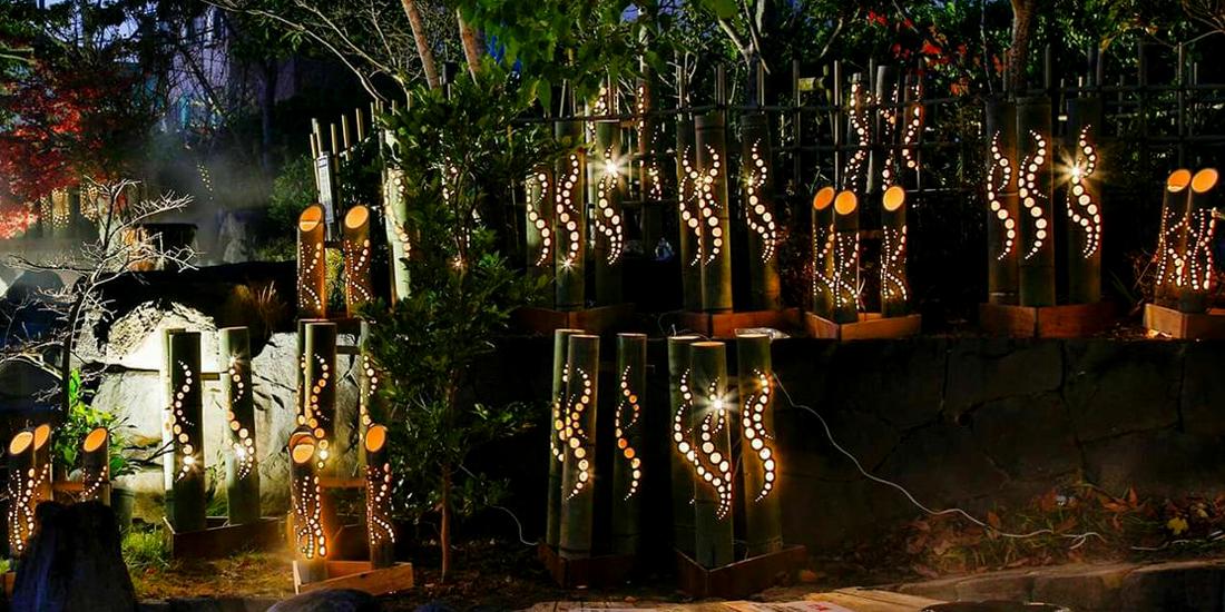 玉名の町に活気を生み出す 竹灯籠の明かり