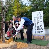 ライオズヒルで 高齢者と一緒に桜を植樹