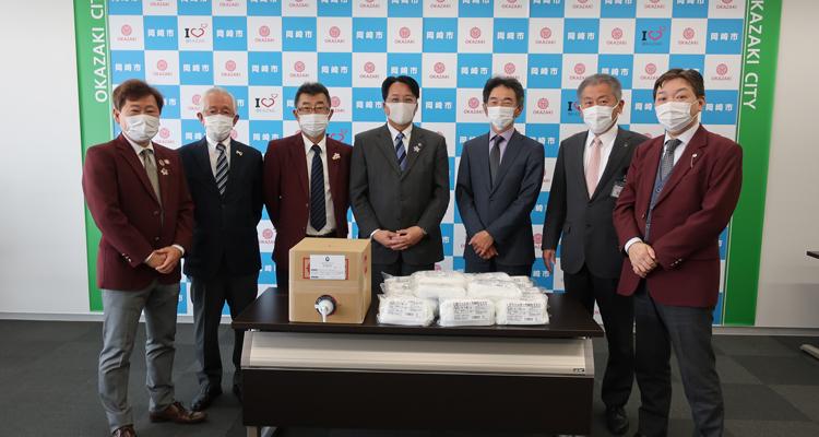 岡崎市内全小学校へ マスクと消毒液を寄贈