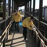 えちぜん鉄道無人駅で 清掃、除菌、感染対策実施