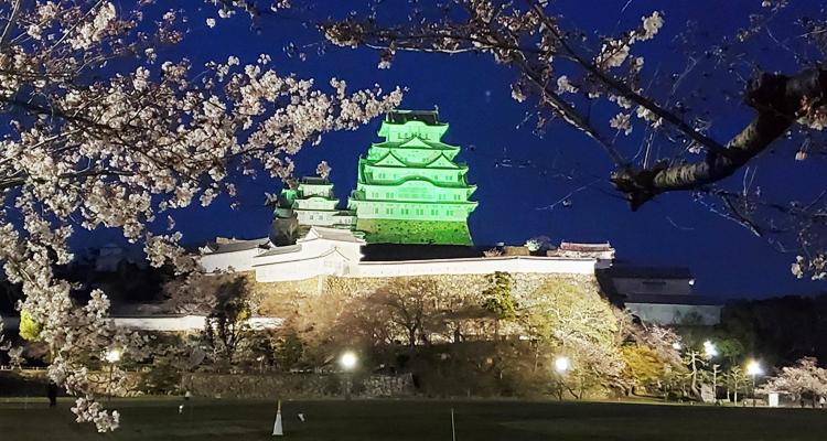 姫路城をライトアップしコロナ禍での差別解消啓発