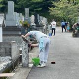 墓地区画を示す番号表示柱の洗浄作業